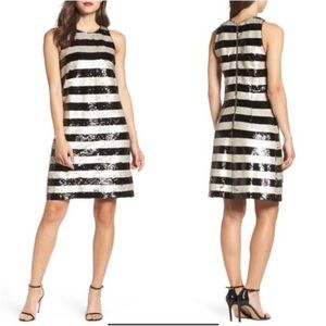 New ELIZA J Reversible Stripe Sequin Shift Dress